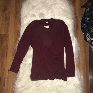 Burgundy long-sleeved top